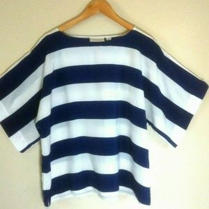 Chico's blouse top blue white size2LG nautical